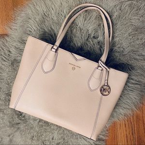 Michael Kors Soft-Pink Pebbled-Leather Tote